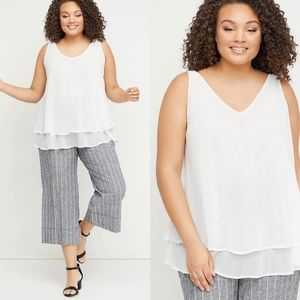 Lane Bryant Double-Layer Swing Shell Tank 22 Ivory